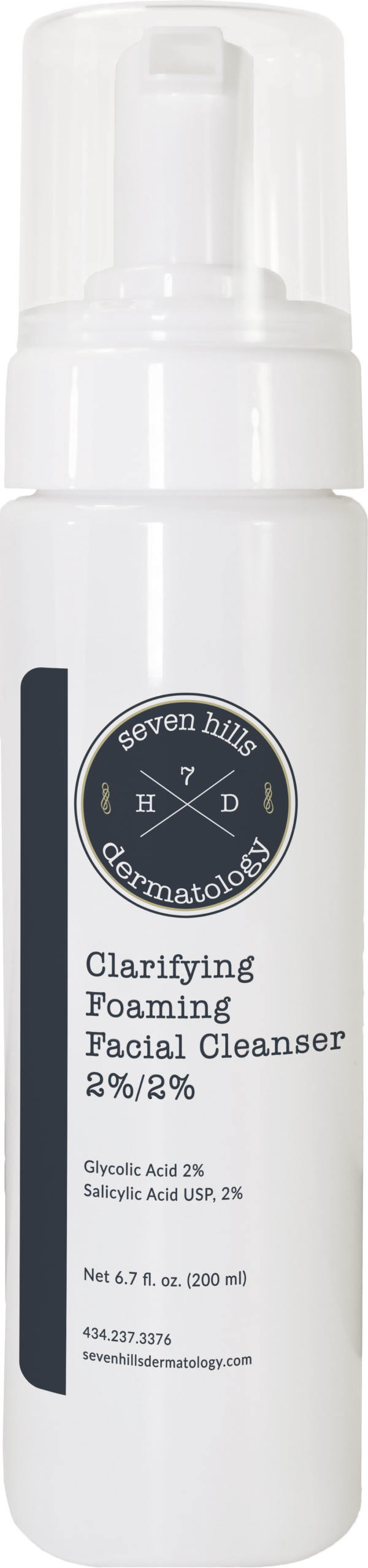A white container that reads: Clarifying Foaming Cleanser 2%/2%