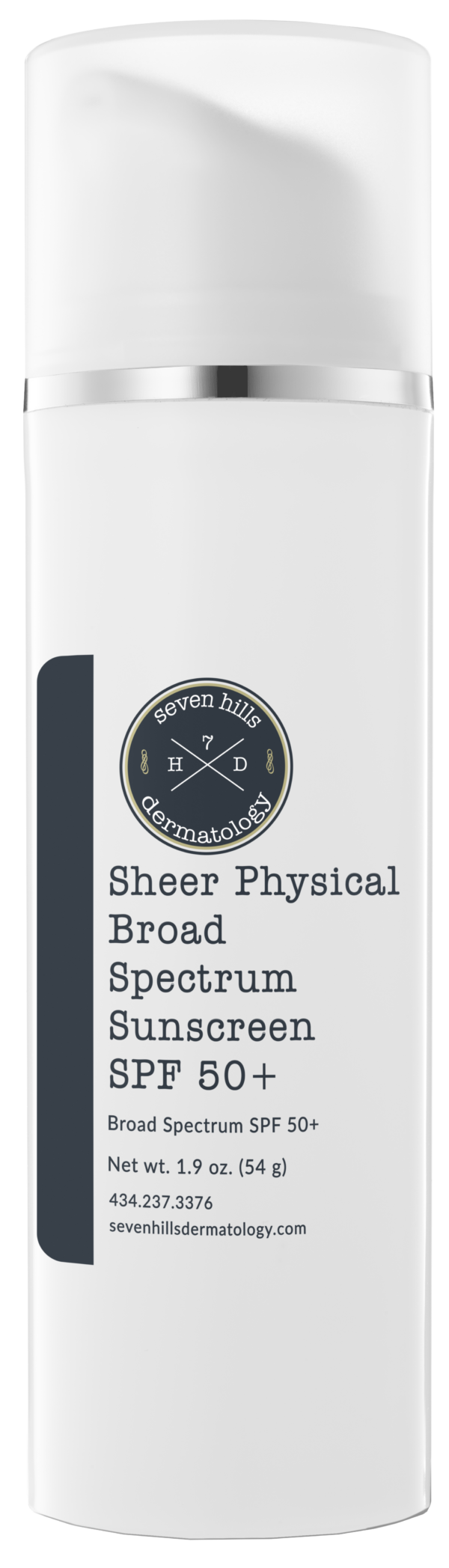 Container of lotion that reads: Sheer Physical Borad Spectrum Sunscreen SPF 50+